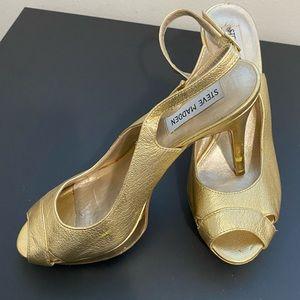 Steve Madden gold platform slingback heels